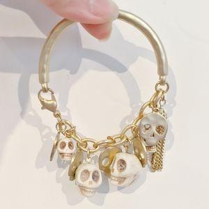 Jewelry - Gold Skull Tassel bangle chain Blogger bracelet